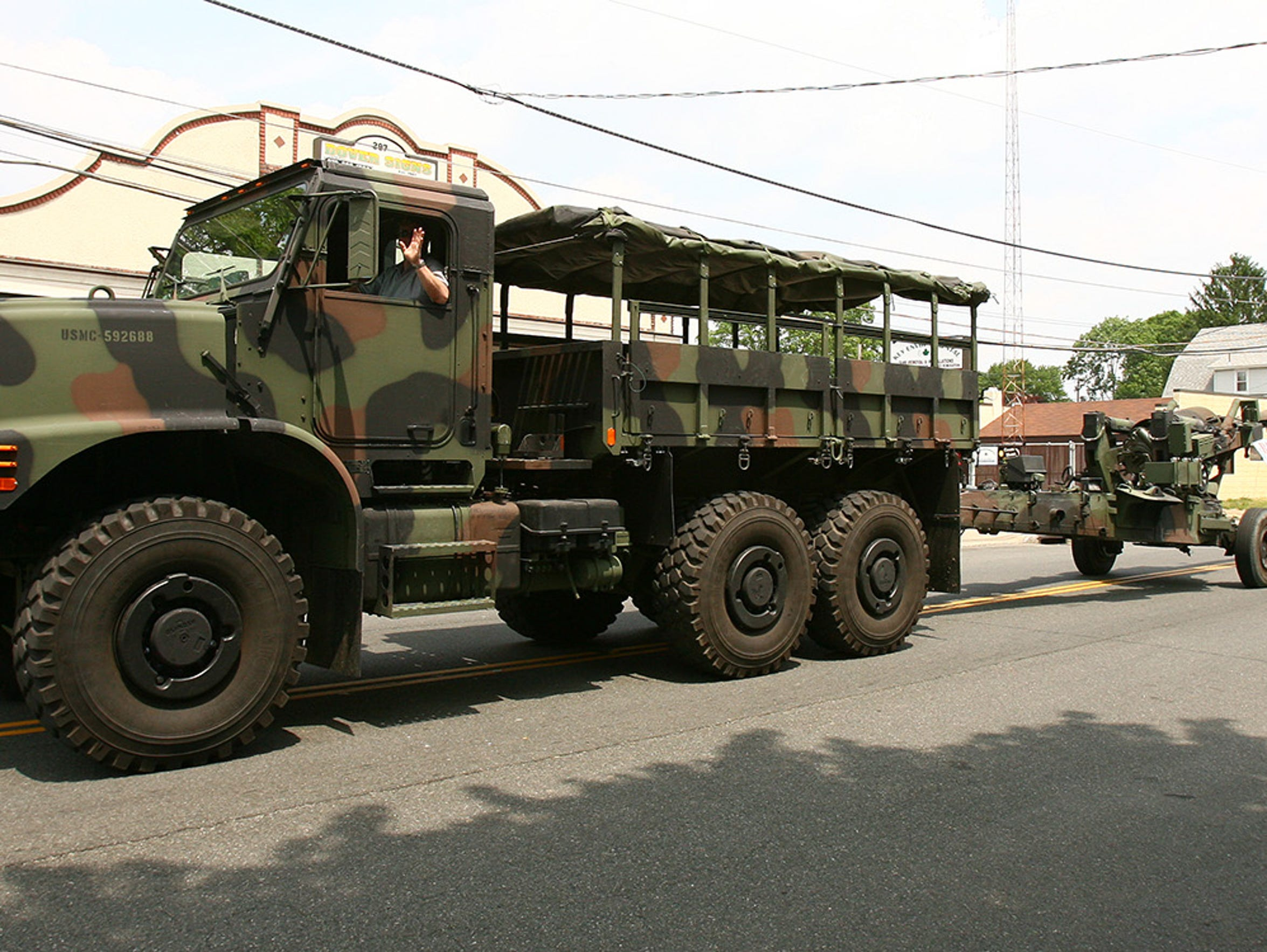 A military truck towing artillery from Picatinny Arsenal