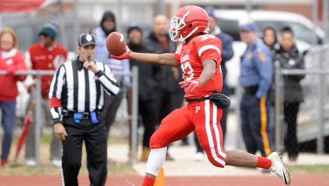 Bhayshul Tuten crosses the goaline in the third quarter of Saturday's South Jersey group 1 semi-final game at Paulsboro High School. November 17th 2017