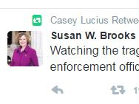 Casey Lucius retweets Congresswoman Susan W. Brooks tweet about Dallas shootings.