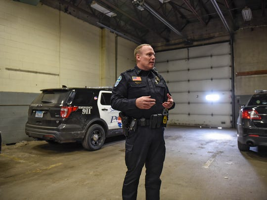 Sartell Police Department Chief Jim Hughes stands in a building currently used to house squad cars not in use Monday, Feb. 6, 2017, at the department's headquarters building in Sartell.