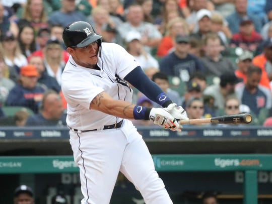 Detroit Tigers first baseman Miguel Cabrera grounds