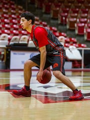 Southern Utah guard Dre Marin practices with the men's basketball team during their first practice of the 2017-18 season on Friday, September 29, 2017.