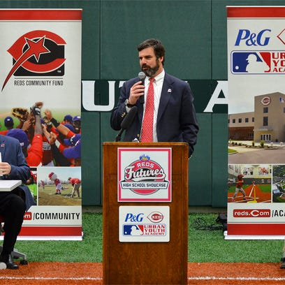 Reds COO Phil Castellini addresses coaches and athletic