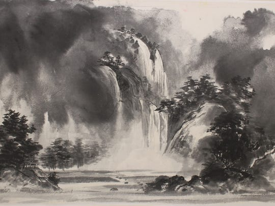 Waterfall of Kashimir is one of the works at the the Sumi-e Society of America's 54th Annual Juried Exhibition, which opens Friday at LeMoyne.
