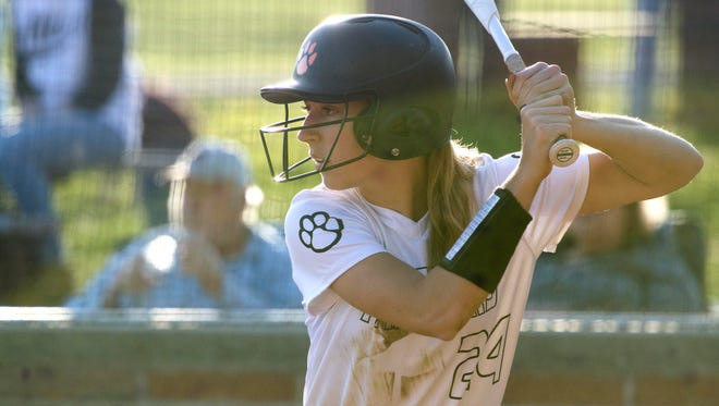 Powell's Kennedy Cowden at bat against Anderson County on Tuesday, April 17, 2018.