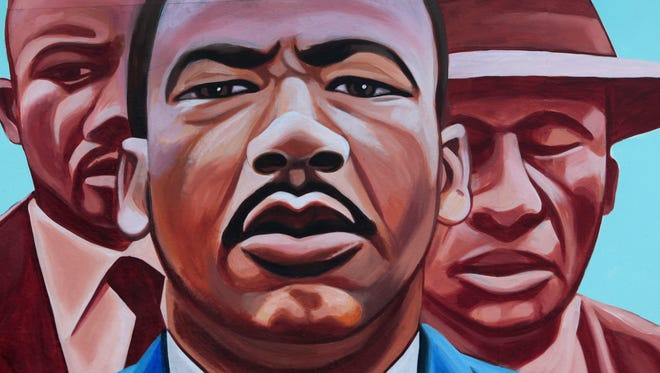 """This is a detail of Damon Lamar Reed's mural """"I Have a Dream,"""" at 2710 Dr. Martin Luther King Jr. St."""