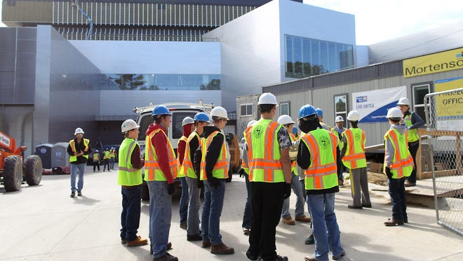 Area high school students get a tour of Hancher Auditorium on Tuesday, Oct. 13, 2015. The tour was organized by Workplace Learning Connection and also included tours of the new dorm on Madison Street and the University of Iowa Children's Hospital.