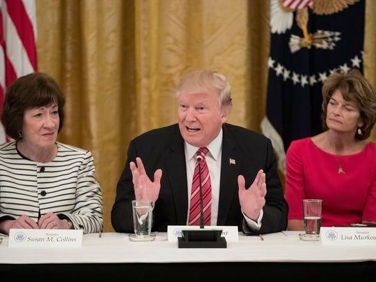 President Trump delivers remarks alongside Sens. Susan