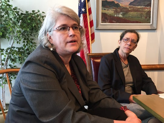 Heather Bouchey, left, acting secretary of the Vermont Agency of Education, speaks about Gov. Phil Scott's education finance plan on May 1, 2018 in Montpelier.