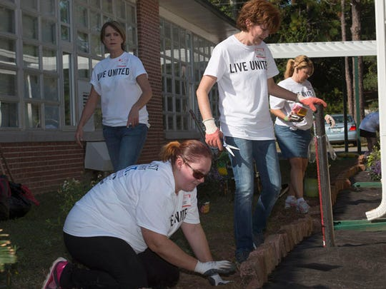Pensacola News Journal employees volunteer at O.J. Semmes Elementary School during the United Way Day of Caring in 2015.