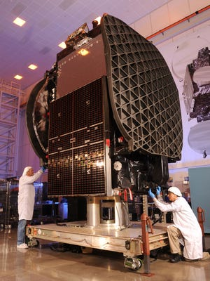 The Thaicom 8 commercial communications satellite, which is scheduled to launch from Cape Canaveral atop a SpaceX Falcon 9 rocket at 5:40 p.m. Thursday.