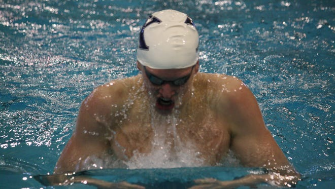 St. Xavier High School sophomore Grant House in the third heat of the 200 yard breaststroke on Jan. 17, 2015 at Miami University in the Southwest Ohio Classic.