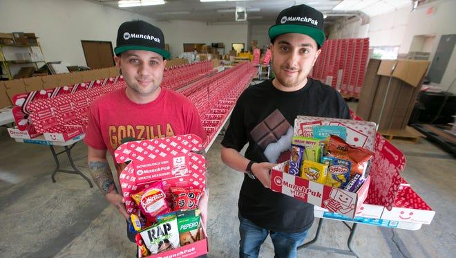 Mike Beletz (left) and Andrew Hawel, co-founders of MunchPak at MunchPak's warehouse in Glendale.