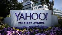 A sign is posted in front of the Yahoo! headquarters