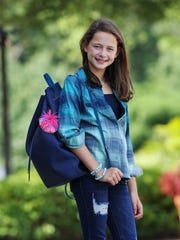 Hayden Breier, 9, modeled upcoming fashion trends, including a backpack, for back to school provided by Fresh Boutique 4 Girls.July 24, 2018