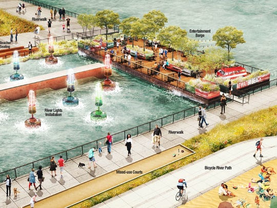 """Rendering shows concept of what the Atwater Beach area on the Detroit River may look like, including the """"Purple Gang"""" barge."""