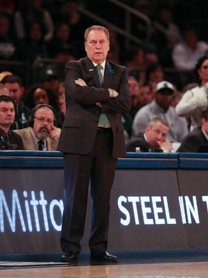 Michigan State head coach Tom Izzo on the bench during second half action of the Big Ten Tournament semifinal Saturday, March 3, 2018 at Madison Square Garden in New York.