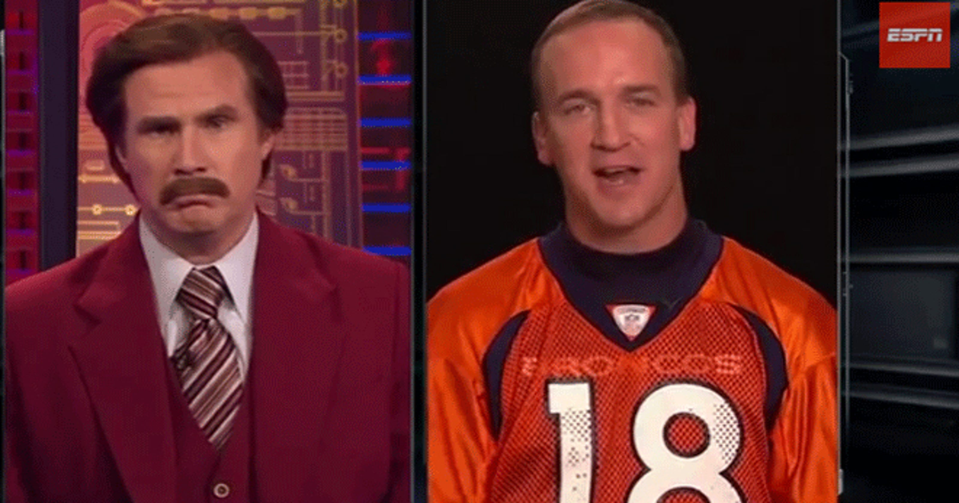 9fe448704 Just A Bit Outside  Ron Burgundy interviews Peyton Manning