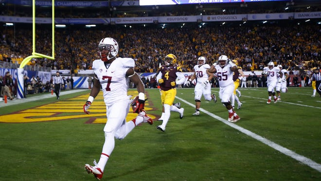 Stanford's Ty Montgomery scores a 22-yard touchdown against ASU in the second quarter of the Pac-12 Championship game on Saturday, Dec. 7, 2013 in Tempe, Arizona.