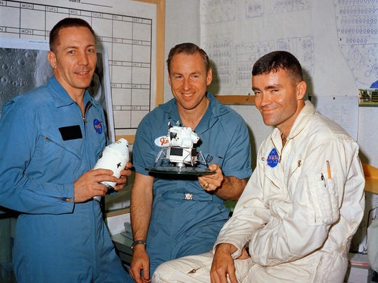 Jack Swigert, Jim Lovell, and Fred Haise posed the day before the Apollo 13 mission launched from Kennedy Space Center on April 11, 1970.