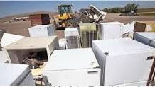Discarded refrigerators no longer take up space in landfill and are recycled for their parts.