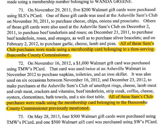 An excerpt of a federal indictment against Wanda Greene and her son, former Buncombe County employee Michael Greene.