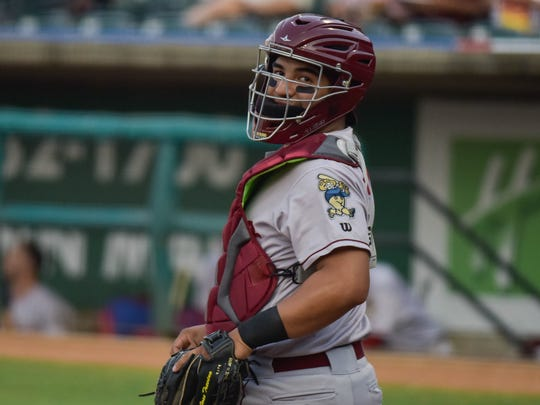 Frisco catcher Jose Trevino gets ready during a game at Whataburger Field.