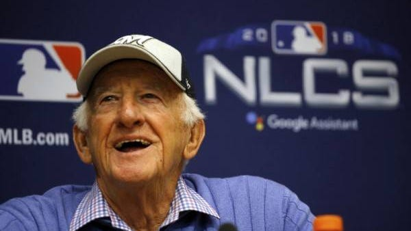 Milwaukee Brewers sportscaster Bob Uecker speaks at a news conference Friday, Oct. 12, 2018, in Milwaukee. Charlie Riedel/AP file