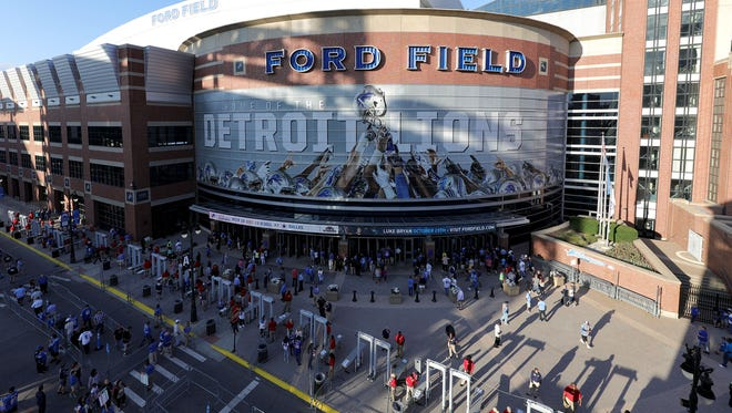 The Detroit Lions set up magnetometers or body imaging machines at Ford Field against the Buffalo Bills on Thursday September 1, 2016 in Detroit. They will be in place for the home opener on Sept. 18, 2016.