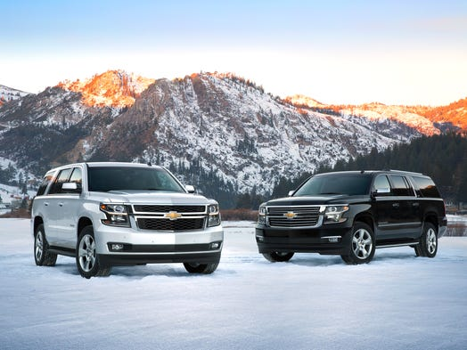 The 2015 Chevrolet Tahoe. Remake of body-on-frame, truck-based, three-row SUV with rear-wheel drive (RWD) or four-wheel drive (4x4). On sale since February.