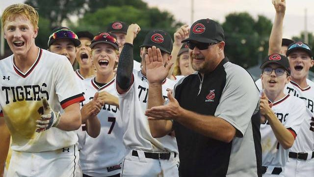 Coach Jeremy Eldred and the Gilbert baseball team will play in the state tournament for the first time since 2011 when they face Adel-Desoto-Minburn in the Class 3A quarterfinals at 7:30 p.m. on Tuesday at Principal Park in Des Moines. Photo by Nirmalendu Majumdar/Ames Tribune