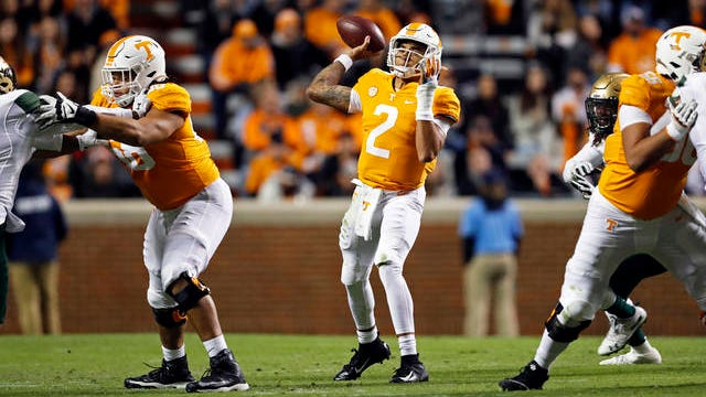 Tennessee quarterback Jarrett Guarantano throws to a receiver in the first half of an NCAA college football game against UAB last season in Knoxville.