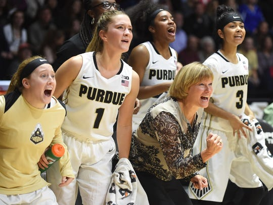 Head Coach Sharon Versyp and the Boilermaker bench