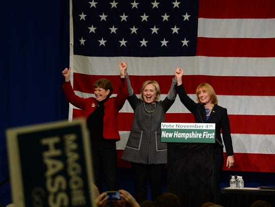 Hillary Clinton campaigns with Sen. Jeanne Shaheen,