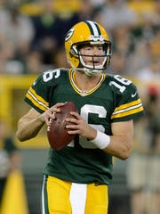 Green Bay Packers quarterback Scott Tolzien (16) looks