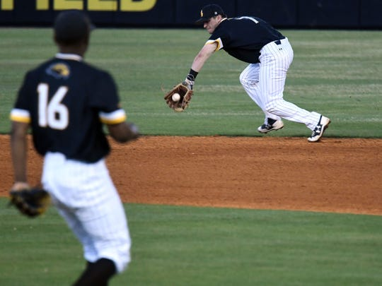 Southern Miss infielder Matthew Guidry catches the