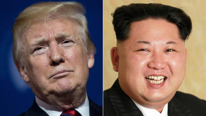 This combination of pictures created on May 24, 2018 shows President Trump at the National Building Museum May 22, 2018 in Washington, and an undated photo released by North Korea's official Korean Central News Agency (KCNA) on May 10, 2016 of North Korean leader Kim Jong-Un on May 9, 2016.