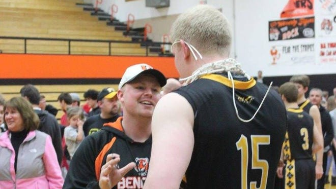 Gazette sportswriter Derrick Webb talks with Paint Valley's Dylan Swingle after the Bearcats won a Division III sectional title this past season.