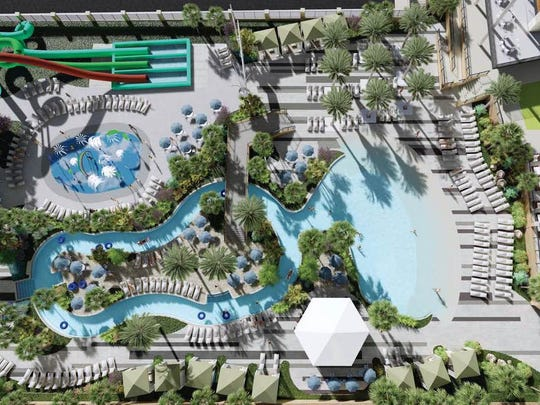 "A rendering of the pool area with a ""lazy river"" in a planned resortlike project in the Montecillo Smart Growth community in West El Paso."
