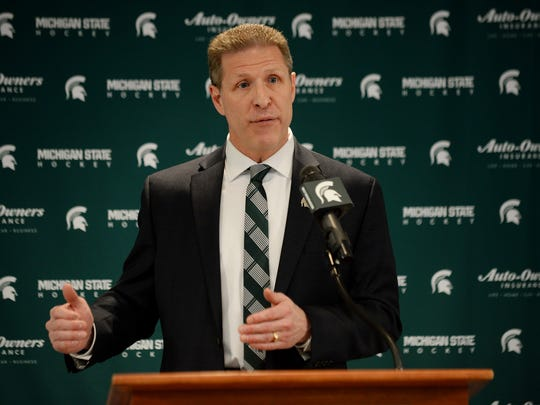 New MSU head hockey coach Danton Cole speaks to the media on Tuesday, April 11, 2017 at Munn Ice Arena at Michigan State University in East Lansing.