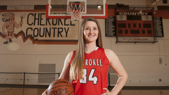 Cherokee's Isabella Therien, the Courier-Post's 2017 girls basketball player of the year.