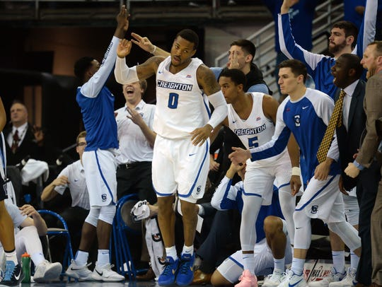 Creighton Bluejays guard Marcus Foster (0) celebrates