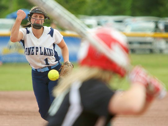 Pine Plains' Alex McKenzie delivers a pitch during their finals loss to Bishop Kearney on Saturday in South Glens Falls.