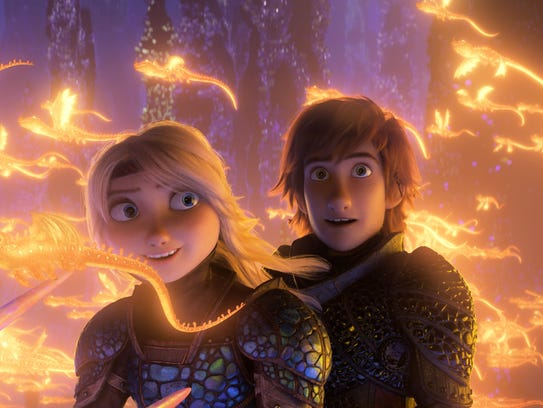 Hiccup (Jay Baruchel) and Astrid (America Ferrera)