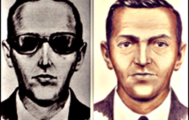 This FBI handout image  from 2008 shows likenesses of D.B.Cooper.  In 1971, in the driving wind and rain somewhere between southern Washington state and just north of Portland, Ore.,  a man calling himself Dan Cooper parachuted from a commercial jet  after collecting $200,000 in ransom.  The FBI has said  Cooper most likely did not survive the jump from 10,000 feet, but the hijacker's body has never been found.