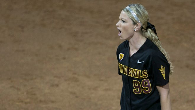 ASU's Mackenzie Popescue celebrates a strikeout with the bases loaded against Arizona at Farrington Stadium in Tempe.