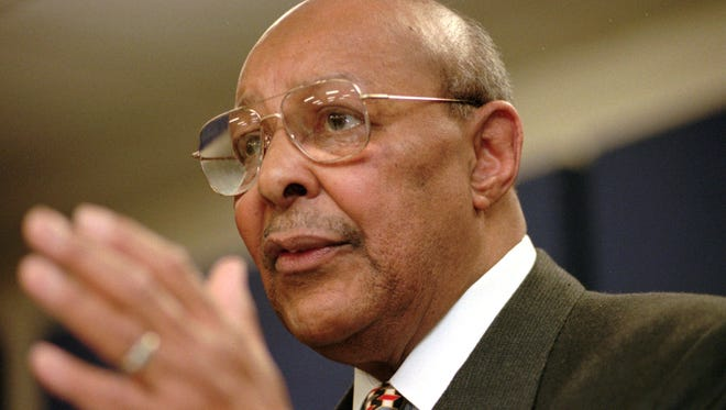 Rep. Louis Stokes, D-Ohio, announces Saturday, Jan. 17, 1998, at the Carl B. Stokes Social Services Mall in Cleveland that he will retire from Congress at the end of the year. Stokes, who served 15 consecutive terms in the U.S. House of Representatives, died Tuesday, Aug. 18, 2015, at the age of 90.