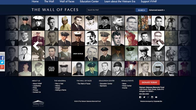 Screen grab from the Wall of Faces page