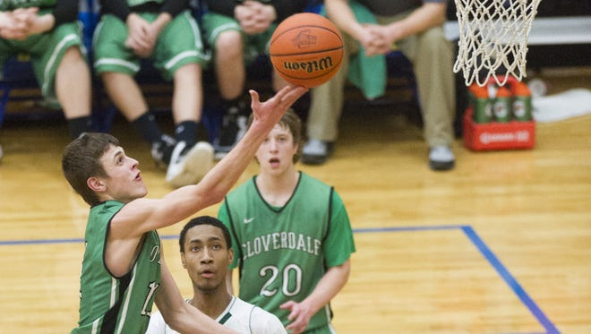Cloverdale High School sophomore Cooper Neese drove to score in a 2015 game. Saturday, the Butler recruit scored 53 points in a game.