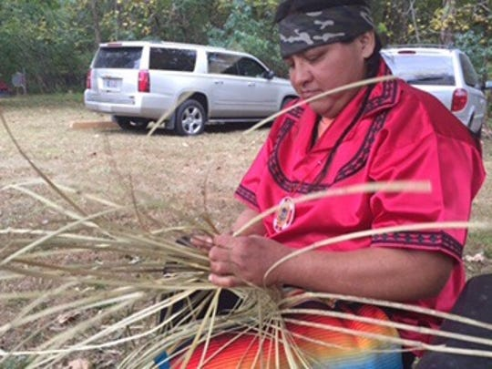 Ramsey King demonstrates making a double-weave basket Friday, Oct. 14, 2016, at the 35th Annual Tennessee Indian Education Pow Wow at Long Hunter State Park.